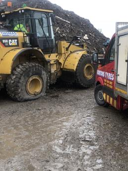 Earth mover tyre repair